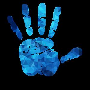 Hand blaue Polygone