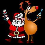 Weihnachtsmann und seine Rentiere