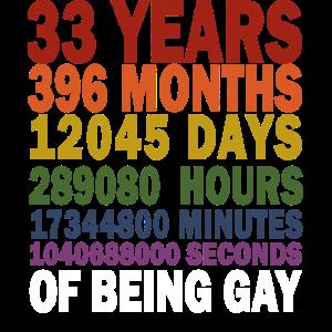 GAY 33 Jahre 33. Geburtstag Vintage Retro