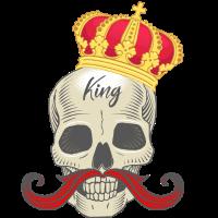 König Skelett Totenkopf Krone