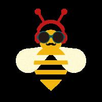 Coole Biene - Sonnenbrille, Kophöhrer, Schnurrbart