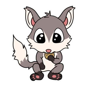 Kleiner suesser Fuchs mit Keks