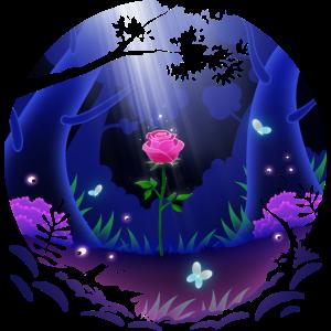Eine Rose steht im Wald