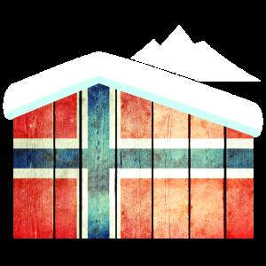 Norwegische Flagge Holzhütte im Winter Schnee