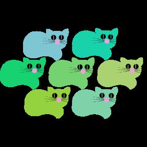 Sieben Katzen in verschiedenen Trendfarben