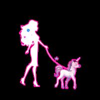 Frau führt Einhorn spazieren