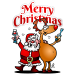 Merry Christmas - Weihnachtsmann und seine Rentier