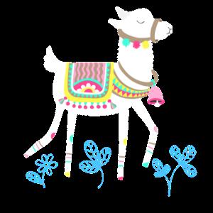 Alpaka mit Glocke