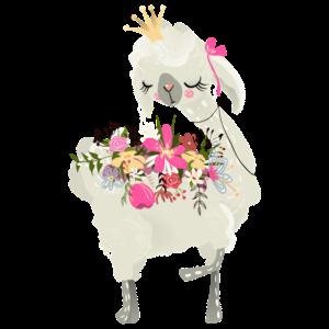 Alpaka mit Blumen auf Rücken