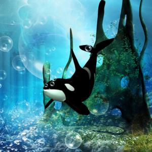 Wunderbarer Orca im tiefen Ozean