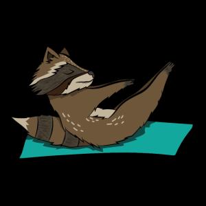 Fitness Waschbär. geschenk sport yoga süßes tier