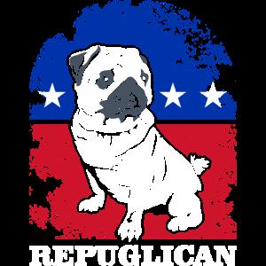 Republican Pug Dog America Flag Patriot