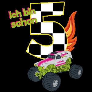 Geburtstag 5 Jahre Monstertruck, Auto T-Shirt Fünf