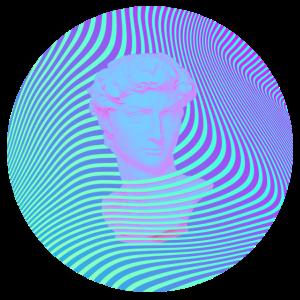 Vaporwave Sculpture Abstract Stripes
