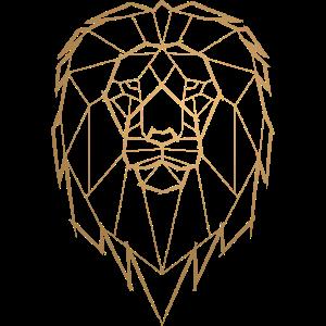 Löwe Geometrisch Geometrie - goldfarbig