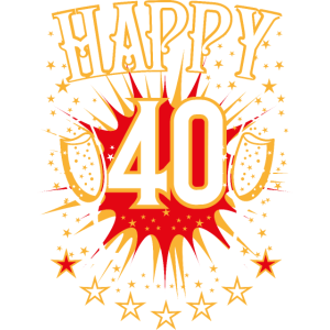 03 Happy 40 Champagner Gläser Sterne