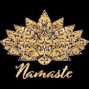 Spiritual Gold Yoga Meditation Lotus Namaste