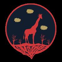 Afrika und Savanne mit Giraffe