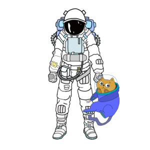 Astronaut mit Astronaut Katze