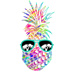 Ananas mit schwarzer Brille