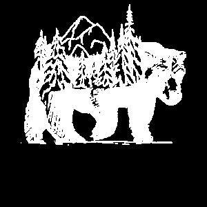 Bär mit Wald und schöner Landschaft auf dem Rücken