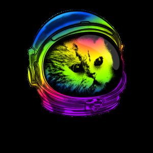Lustiges psychedelisches Katzen-Hemd-Astronautenkatzen-Tragen