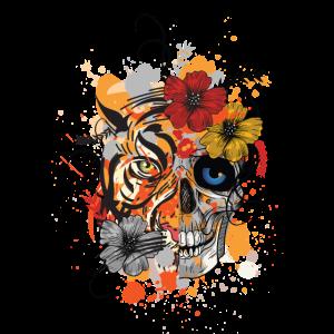 Tiger mit Totenkopf mit Blumen / Geschenk Kunst