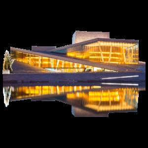 Oslo Opernhaus bei Nacht Wasser Reflektion