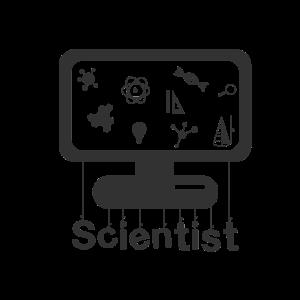 Scientist on monitor - Wissenschaftler am Monitor