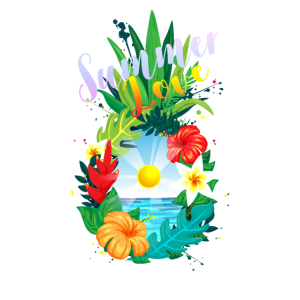 Hawaii Ananas tropisch Blüten Sommerliebe Geschenk