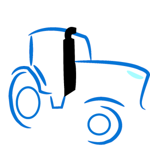 Trecker Traktor blau Landwirt