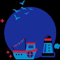 Namenskreis - kids - maritim - Schiff - Boot - 3C