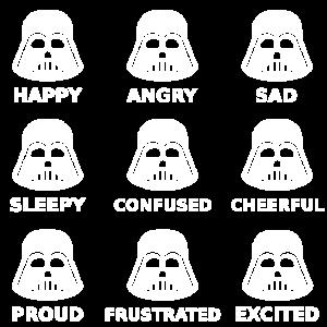 Darth Vader Moods Happy Angry Sad Face