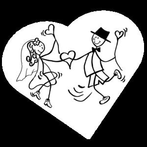 Strichmännchen Brautpaar Hochzeit Tanz Corona Kuss