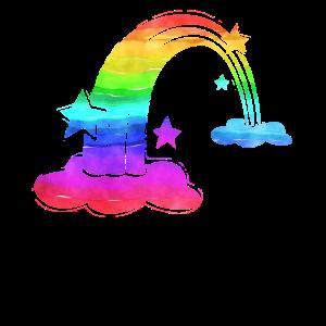 Retro Rainbow Shirt Clouds 1980s Cute Hipster Punk