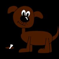 Witzige Kinderzeichnung eines Hundes