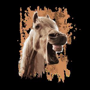 pferd witzig wierend lachend. Kinder tochter