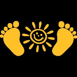 Baby, Babyfüße, Sonne, Geschenk, Geburt, Schwanger