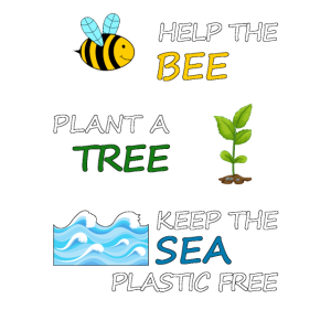 Help the bee, plant a tree and plastic free Sea