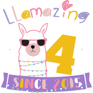 Girls 4th Birthday LLamazing Since 2015