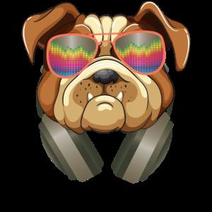 Lustiger Bulldoggenentwurf Hund DJ hörende Musik mit