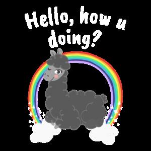 Llama mit Regenbogen und auf Wolke 7