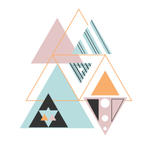 Bunter moderner geometrischer Winkelmusterblock S.