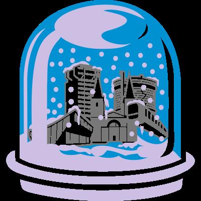 Schneekugel Wuppertal  - Sparkasse, Laurentiuskirche, Schwimmoper und Schwebebahn sind im Winter angekommen. Schneekugel Wuppertal - ein Design von spassprediger.de - cool,Wuppertaler,Wuppertal,Winter,Traumkugel,T Shirt,Shirt,Schneekugel,Schnee,Advent