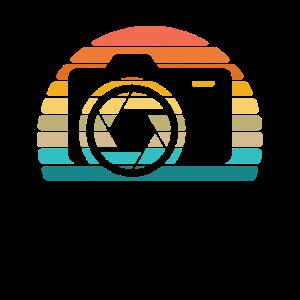 Weinlese-Retro- Sonnenuntergang-Kamera-Hemd