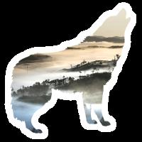 Wolf Landschaft Berge Nebel Geschenk