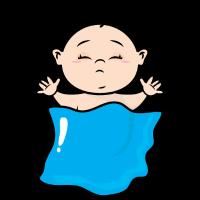 Schlafendes Baby mit einer Decke