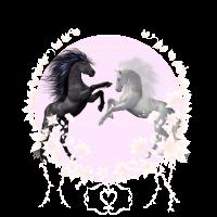 Grafik Zwei Pferde in Blumen mit Herz