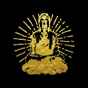 Buddha golden Om Zeichen Yoga Geschenk