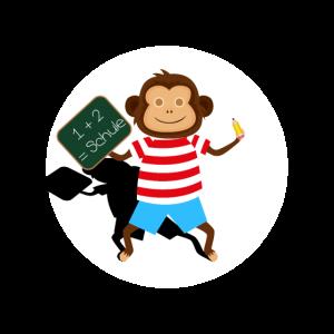 Einschulung Schule Süß Affe Mathe Stift